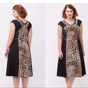 Lane Bryant Colorblock Leopard Print Dress 22